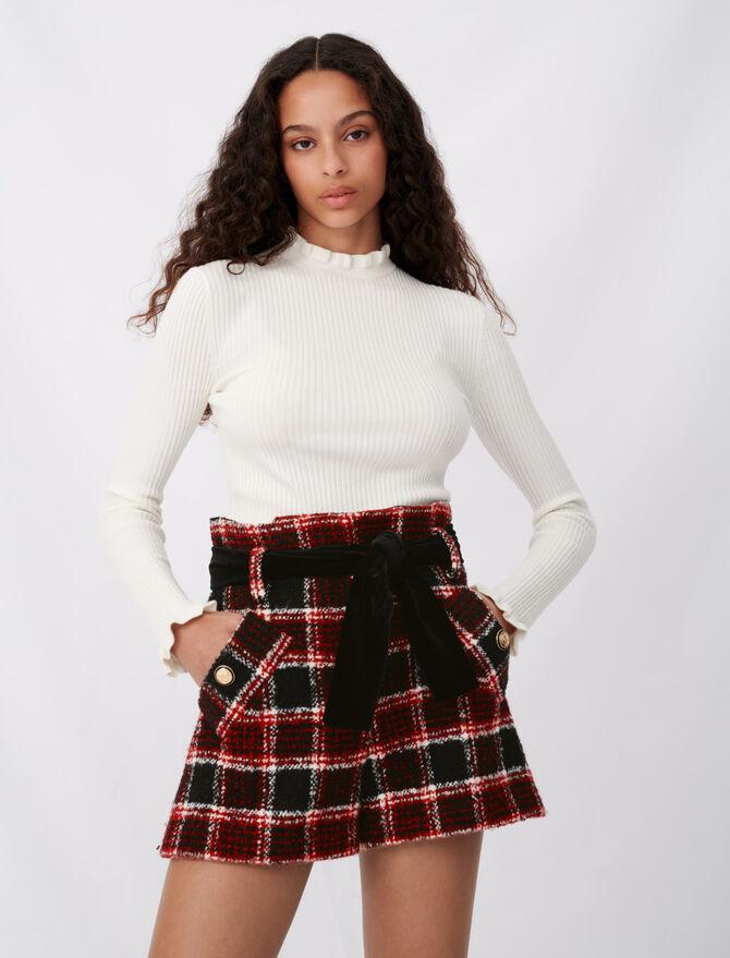 Short de cuadros y cinturón terciopelo - Faldas y shorts - MAJE