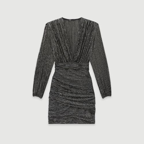 Vestido drapeado en lurex : Colección invierno color Plateado