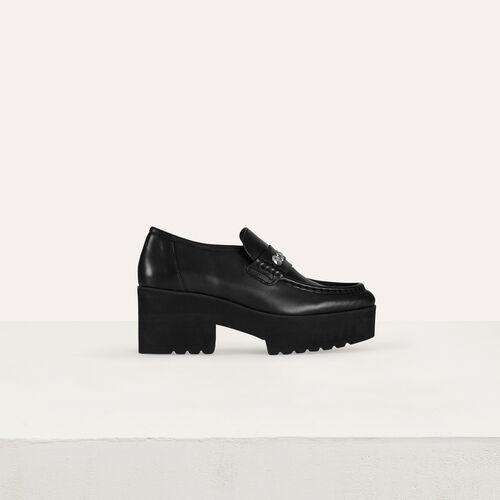 Mocasines de platforma de cuero : Zapatos planos color Negro