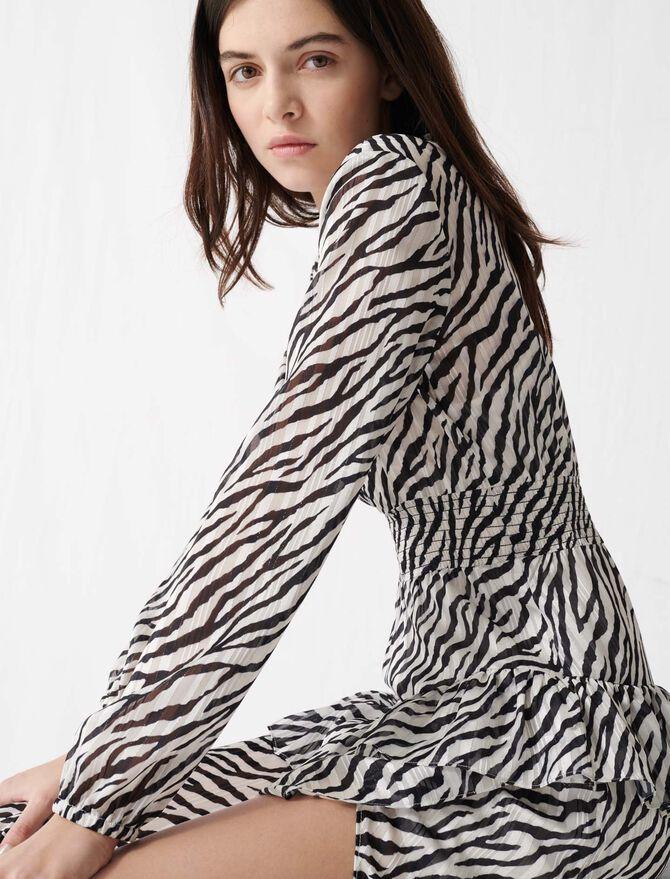 Vestido asimétrico blanco y negro - Vestidos - MAJE