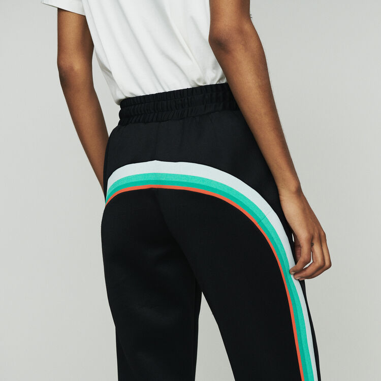 Pantalón de deporte con bandas laterales : Pantalones color NEGRO