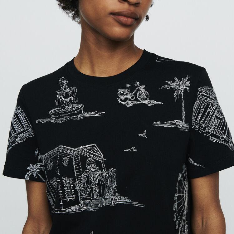 Camiseta bordada Paris all-over : T-Shirts color NEGRO