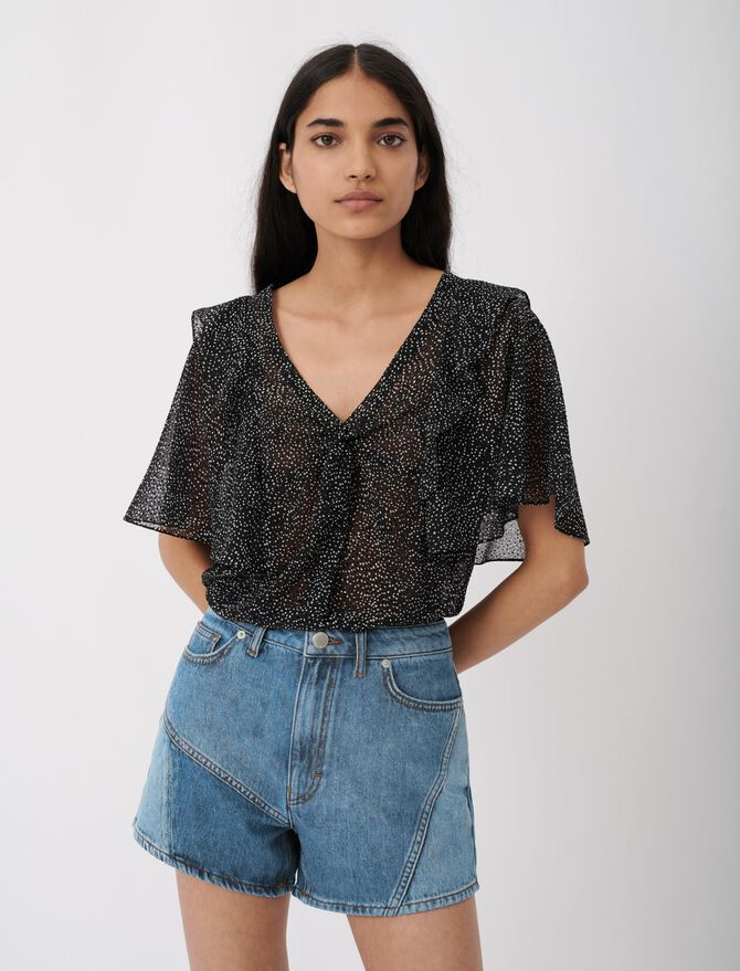 Blusa de muselina flocada terciopelo - Arlissa's story - MAJE