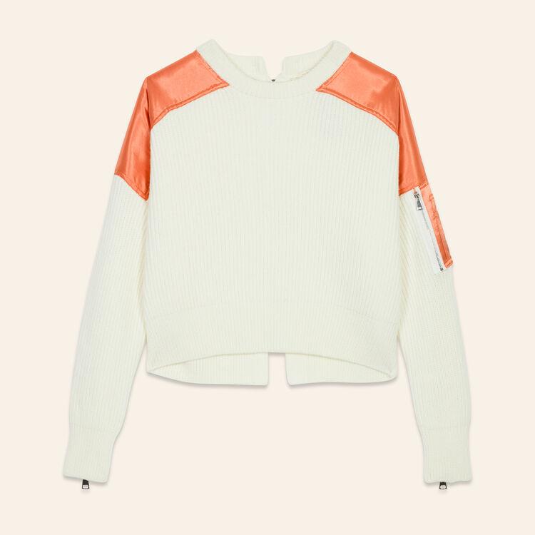 Jersey corto de punto inglés : Jerseys y cárdigans color Crudo