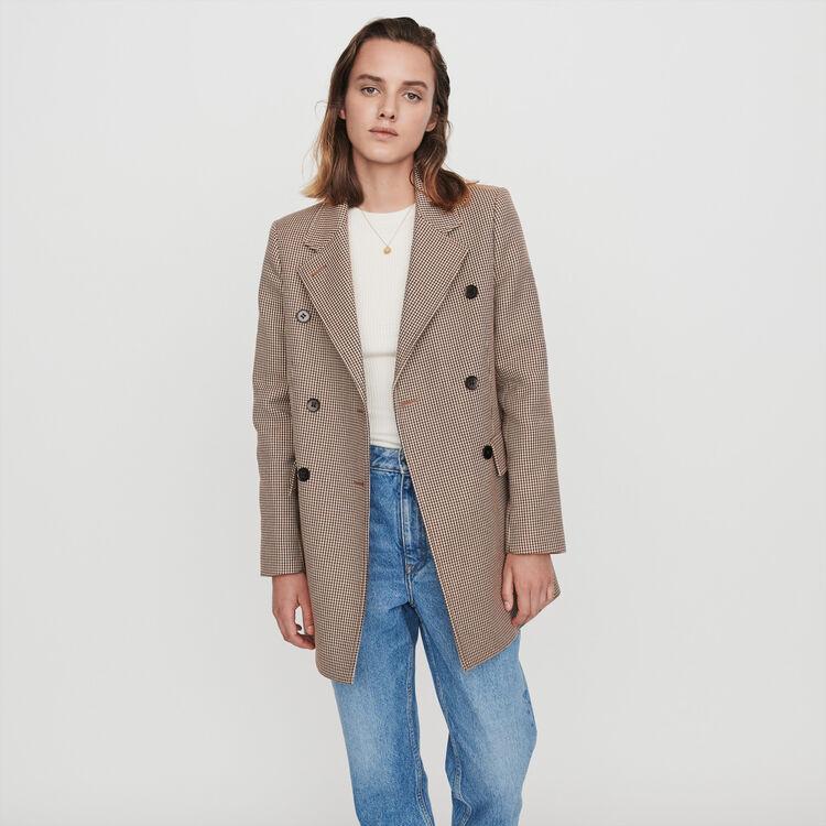 Abrigo de cuadros tipo chaqueta : Abrigos y Cazadoras color Camel