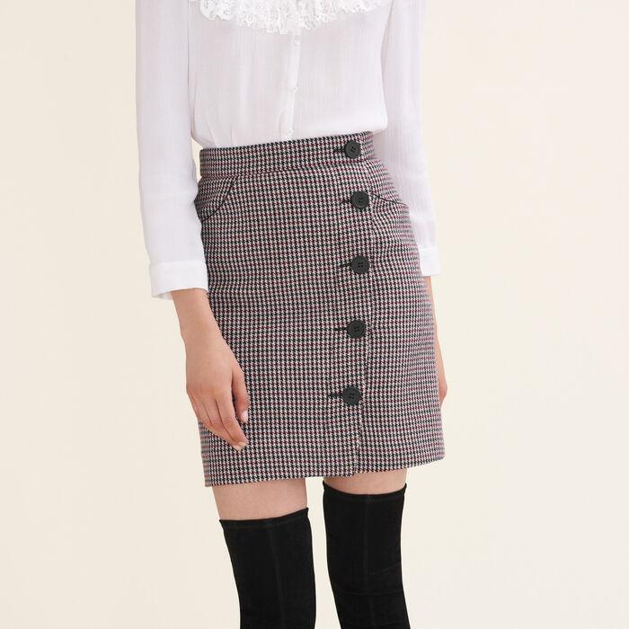 Falda corta estampada de pata de gallo : Faldas y shorts color Jacquard