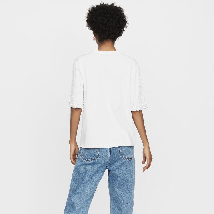 Camiseta de algodón con perlas : T-Shirts color Negro