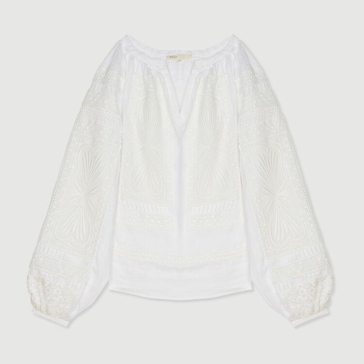 Blusa en guipur : Tops y Camisas color Blanco