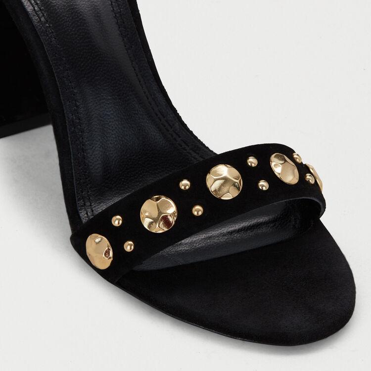 Sandalias de gamuza con tacón : Zapatos de tacón color Negro
