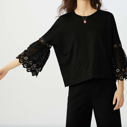 T-shirt with eyelet and mesh : T-Shirts color Negro