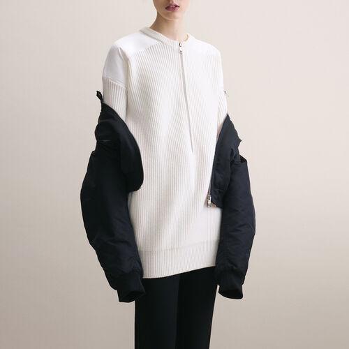 Vestido con piezas de nylon : Vestidos color Crudo