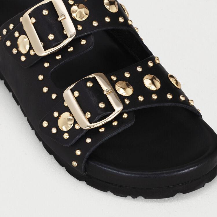 Sandalias de cuero con tachuelas : Zapatos planos color NEGRO