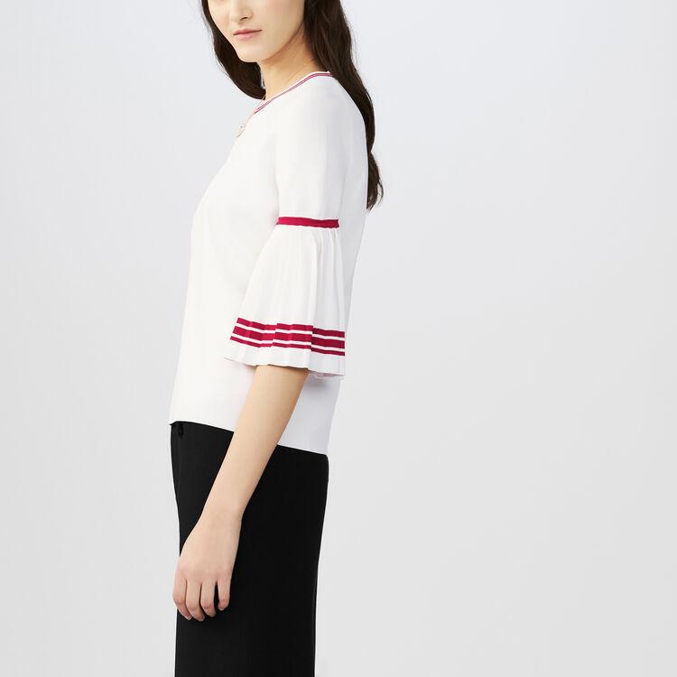 Jersey fino con mangas plisadas : Malla color Blanco