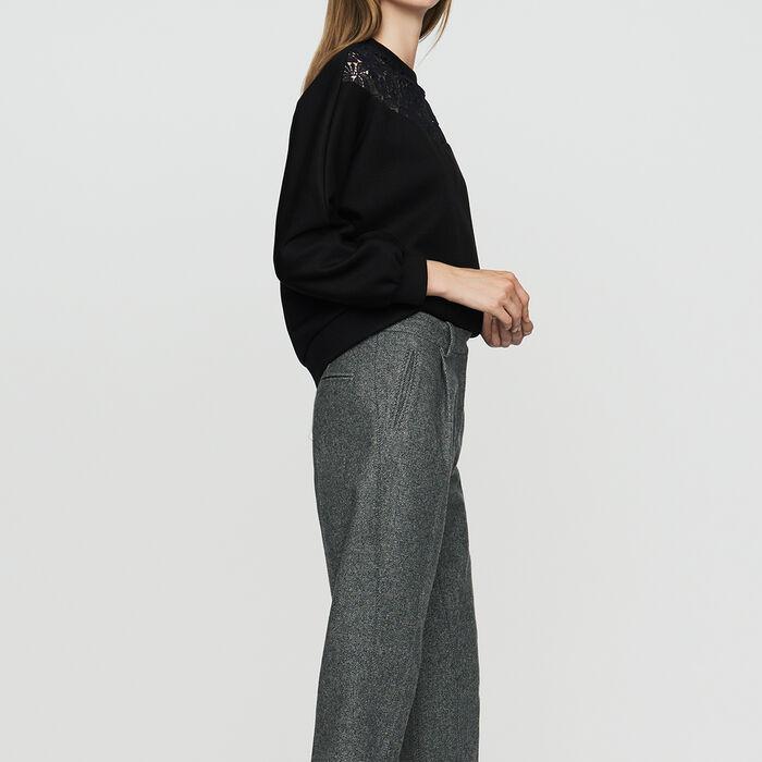 Pantalón con pinzas de lana mezclada : Pantalones color Gris