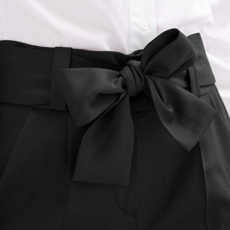 Pantalón de corte zanahoria con lazo : categorías color Negro