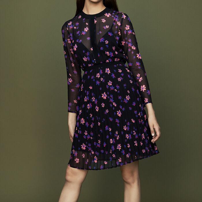Vestido estampado con falda plisada : Vestidos color IMPRIME