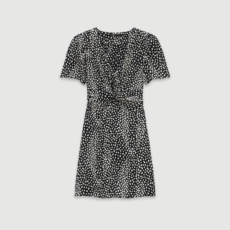 Vestido fruncido estampado en Jacquard : Vestidos color Negro