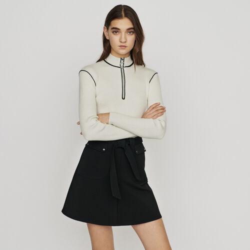 Falda con cinturón a anudar : Faldas y shorts color Negro