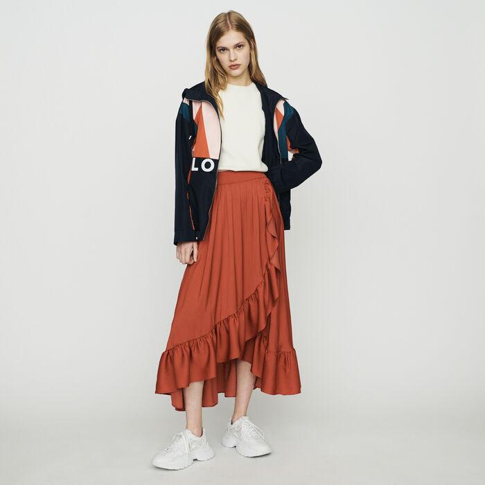 Falda larga cruzada con volantes : Faldas y shorts color Terracota