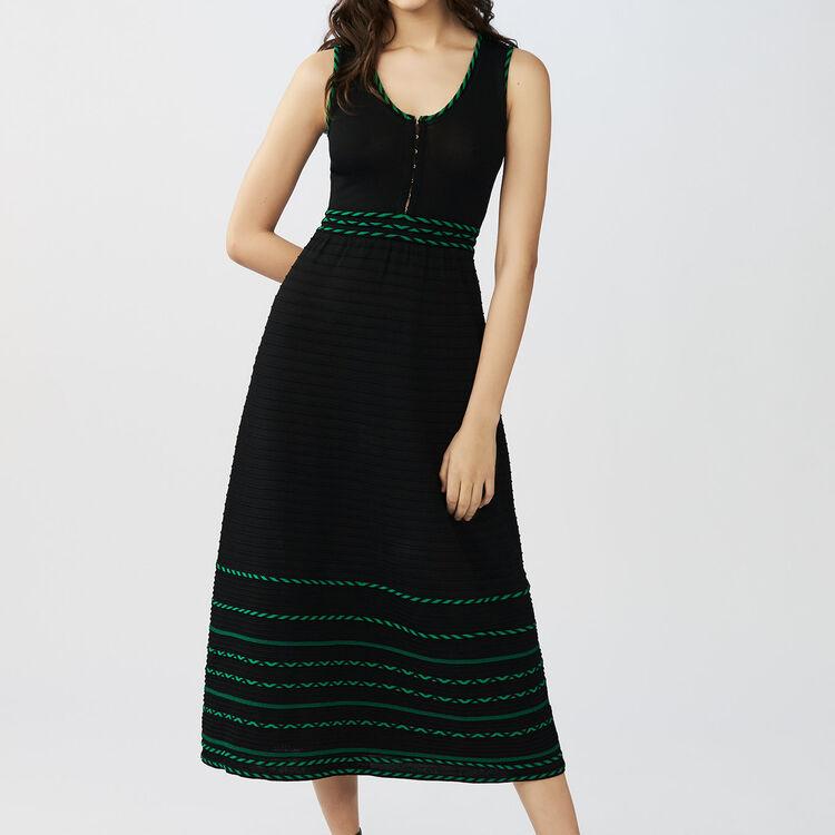 Vestido largo de punto sin mangas : Vestidos color Negro