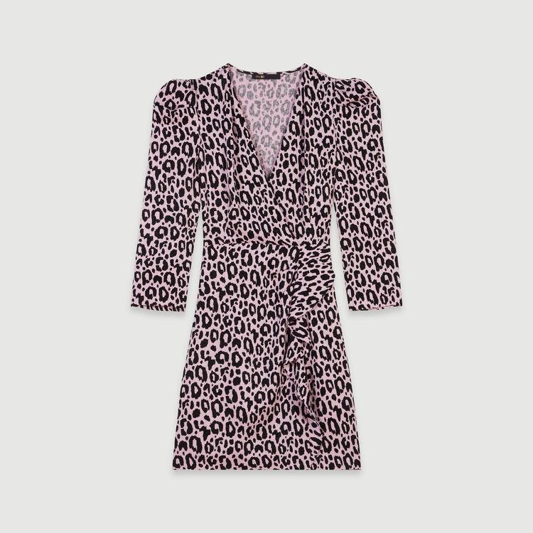 Vestido drapeado estampado en Jacquard : Vestidos color Rosa