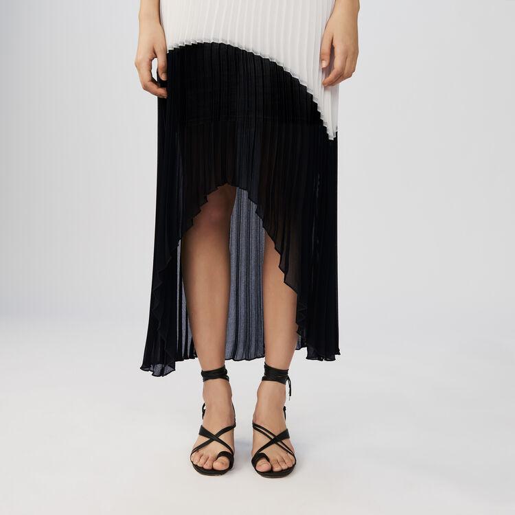 Vestido largo plisado bicolor : Vestidos color Bicolor