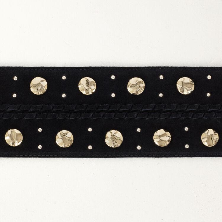 Cinturon de ante talle alto con tachas : Cinturones color Negro