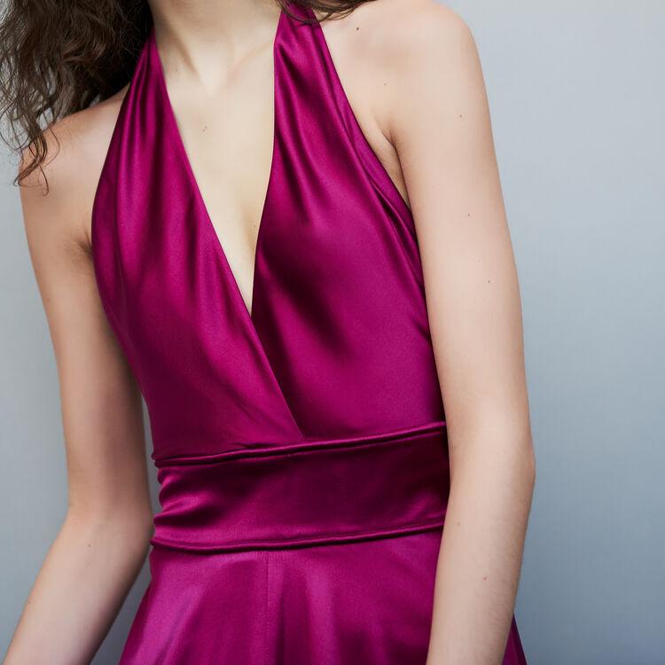 Vestido largo de seda sin mangas : Vestidos color Fucsia