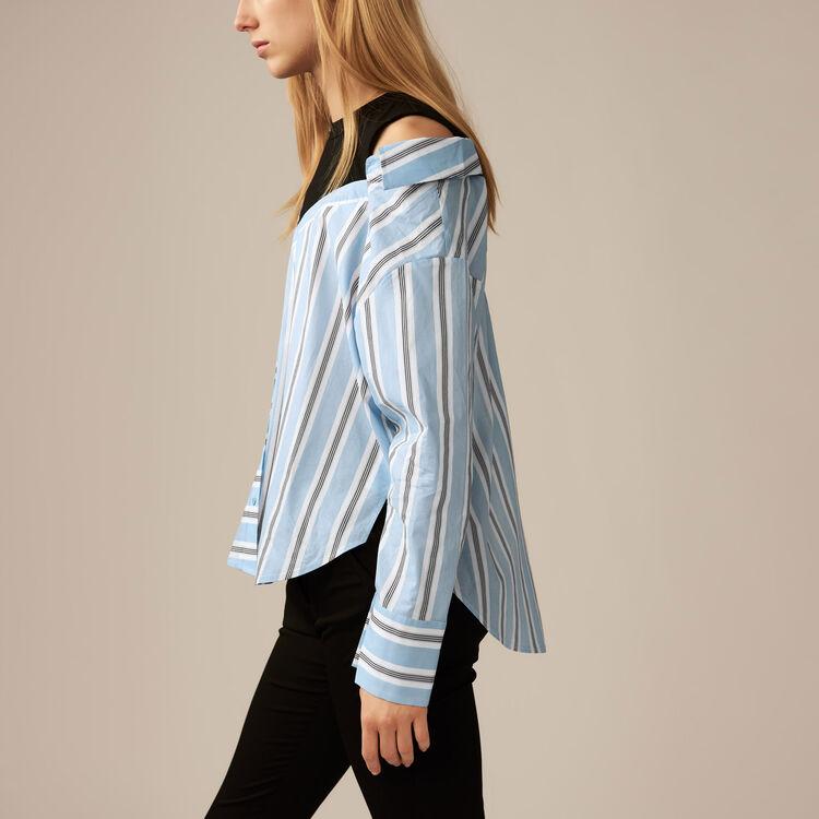Camisa desestructurada a rayas : Novedades color Azul Celeste