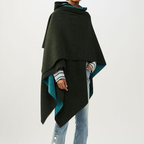 Poncho con capucha reversible : Pañuelos y Bufandas color Caqui