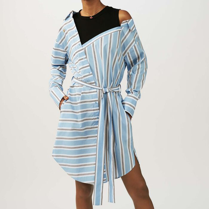 Vestido camisero oversize  rayado : Vestidos color Azul Celeste