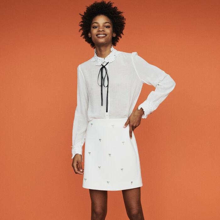 Falda corta con joyas palmeras : Faldas y shorts color ECRU