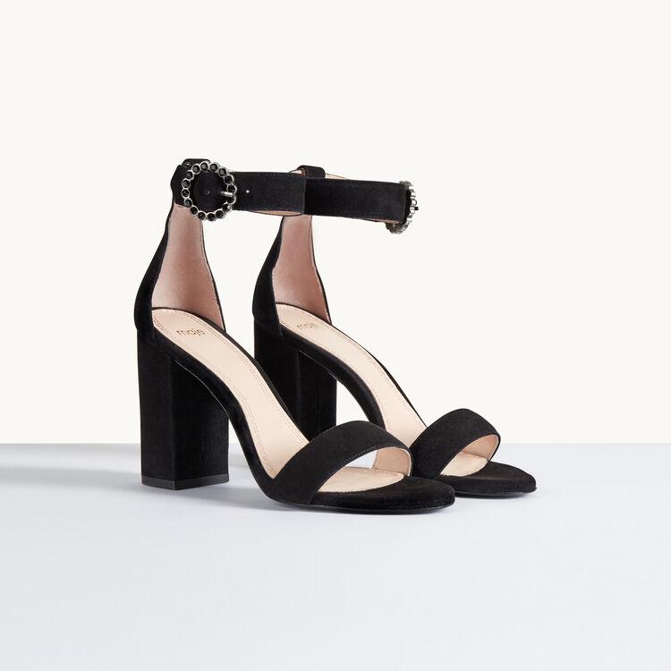 Sandalia de ante con tacón : Accesorios color Negro
