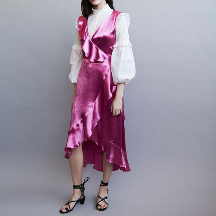 Vestido de noche satinado con volantes : Vestidos color Fucsia