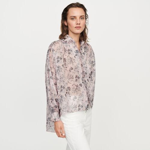 Blusa en velo en algodón estampado : Tops y Camisas color LILA