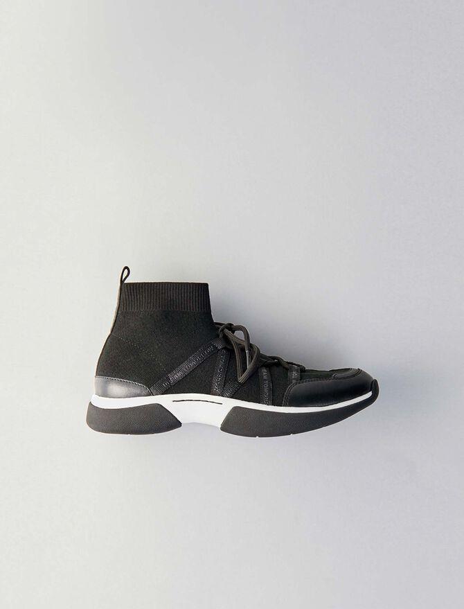 Sneakers altos de punto stretch - Sneakers - MAJE