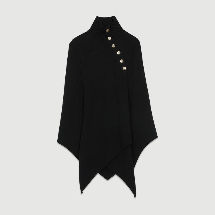 Poncho de lana mezclada : Pañuelos & Ponchos color Negro