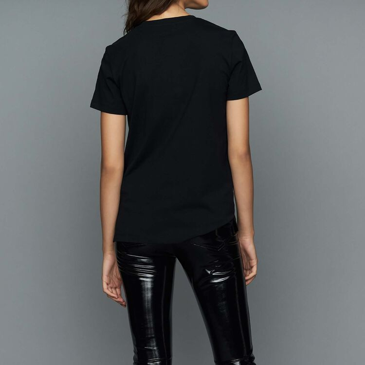 Camiseta loose con galones : T-Shirts color Negro