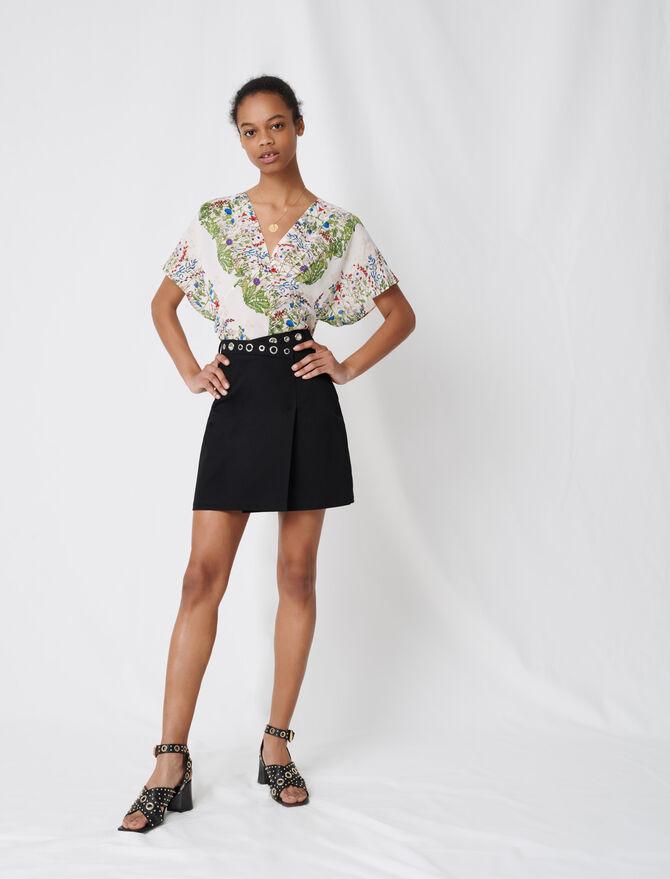Falda corta cruzada con ojales - Faldas y shorts - MAJE