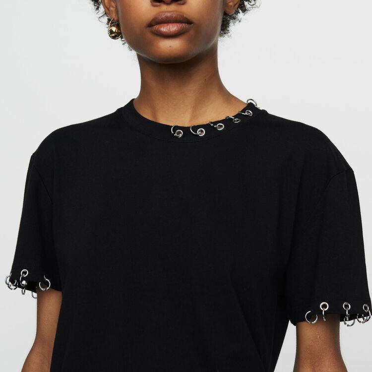 Camiseta de algodón con ojales : T-Shirts color Negro