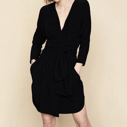 Vestido cruzado para anudar : Vestidos color Negro