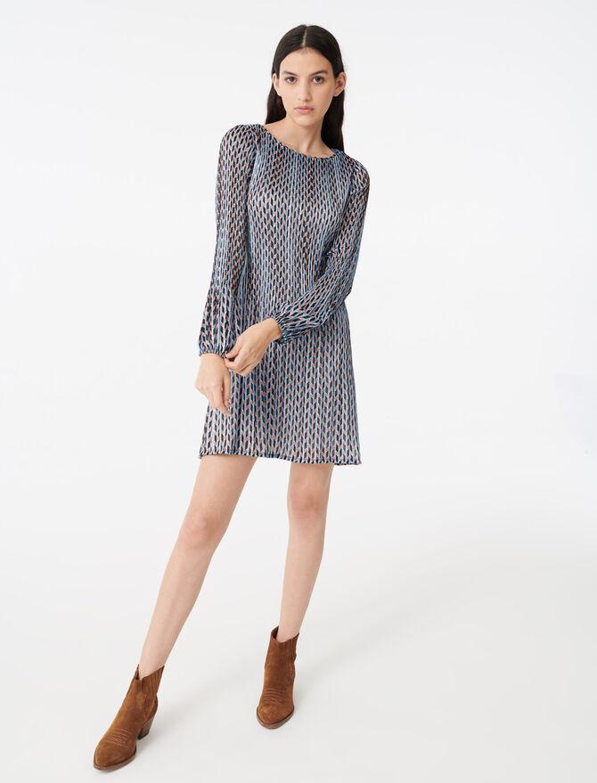 Vestido plisado jacquard lúrex estampado - Vestidos - MAJE