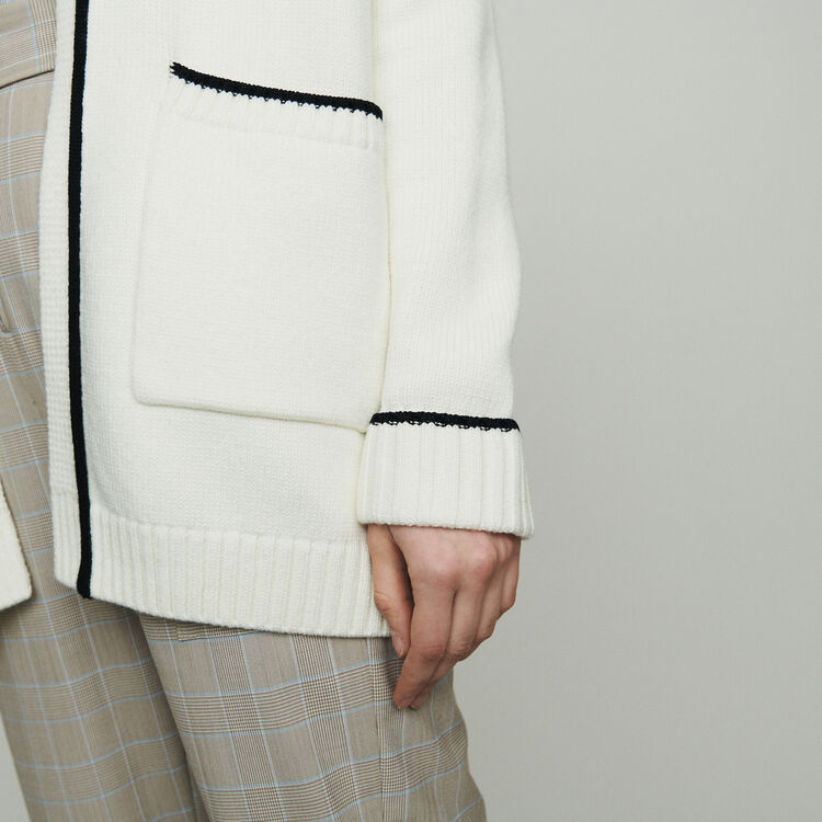 Cárdigan midi con bordes a contraste : Jerseys y cárdigans color ECRU