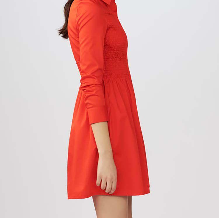 Vestido camisero con frunces : Vestidos color Rojo