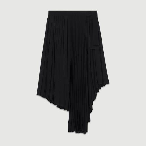 Falda plisada asimétrica : Prêt-à-porter color Negro