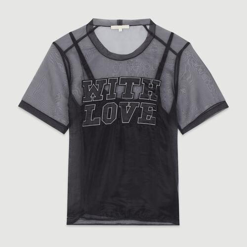 Top de organdí con mensaje : T-Shirts color Negro