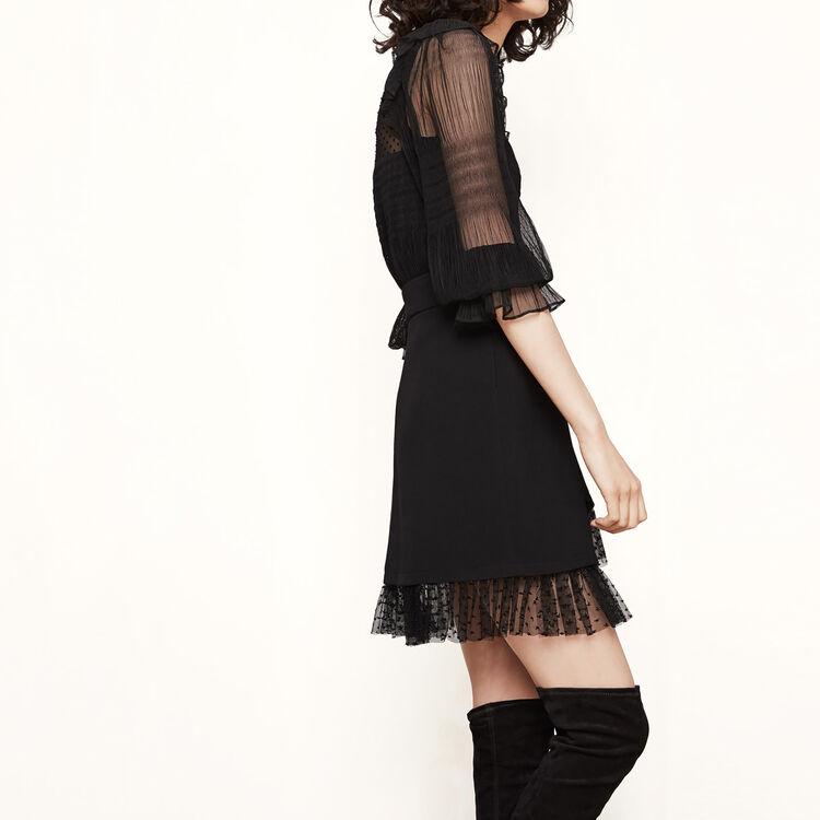 Falda asimétrica con volante : Precios Bajos color Negro