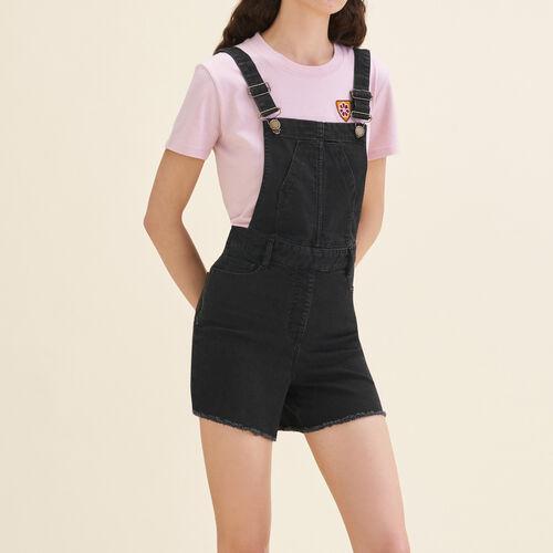 Peto corto de denim : Faldas y shorts color Negro