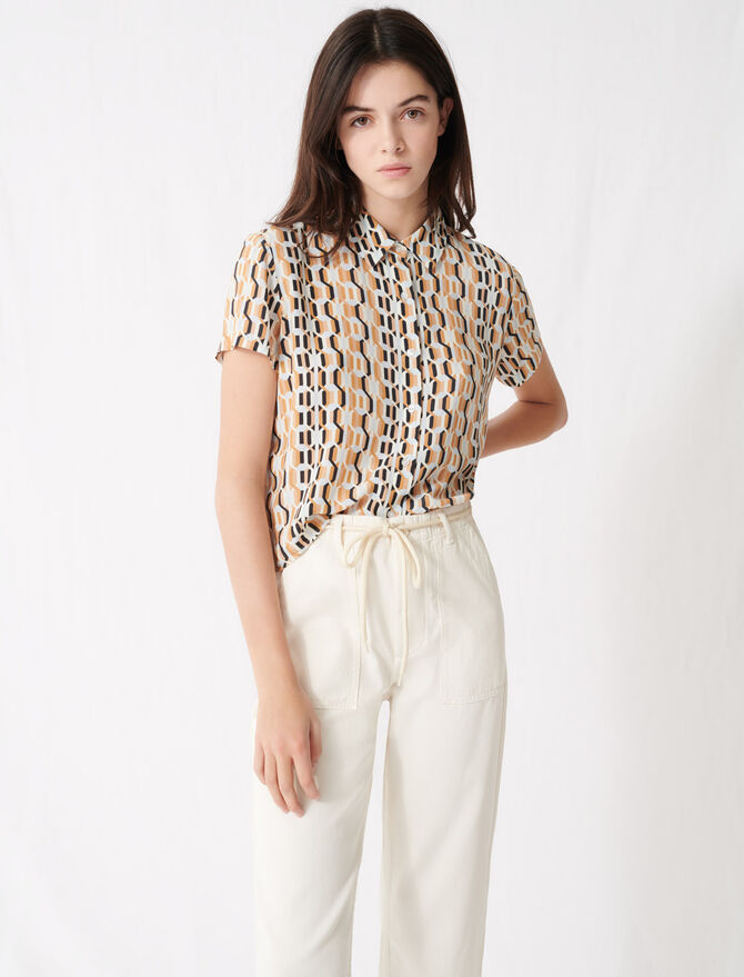 Camisa estampada manga corta - Tops y Camisas - MAJE