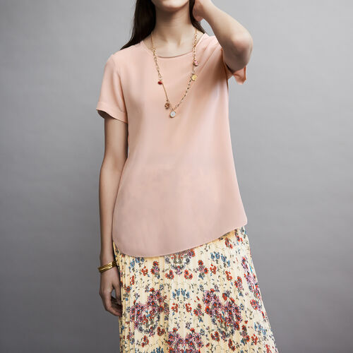 Round neck silk top : Tops color Rosa Claro